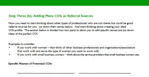 referral source workbook, step 3B
